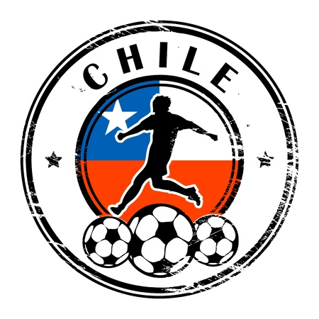 chile flag: Grunge stamp with football and name Chile