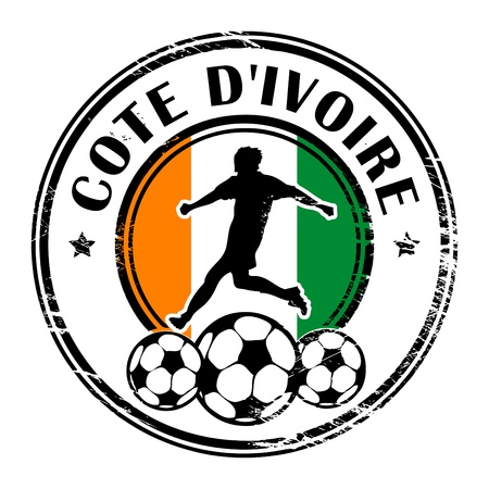 cote d ivoire: Grunge stamp with football and name Cote D ivoire Illustration