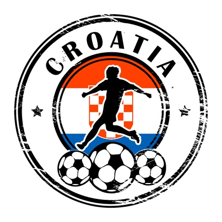 Grunge stamp with football and name Croatia Vector