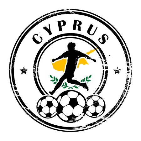 Grunge stamp with football and name Cyprus Vector
