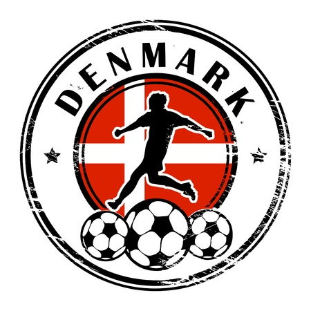 Grunge stamp with football and name Denmark Stock Vector - 13822011