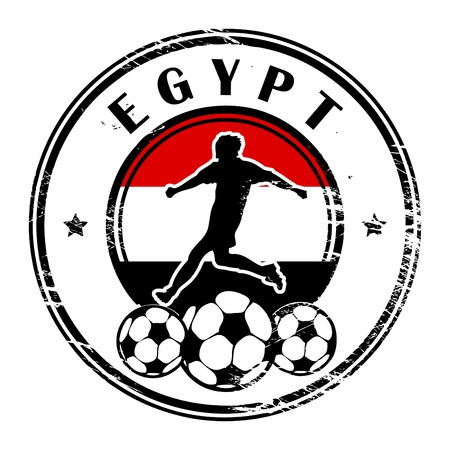 Grunge stamp with football and name Egypt Vector