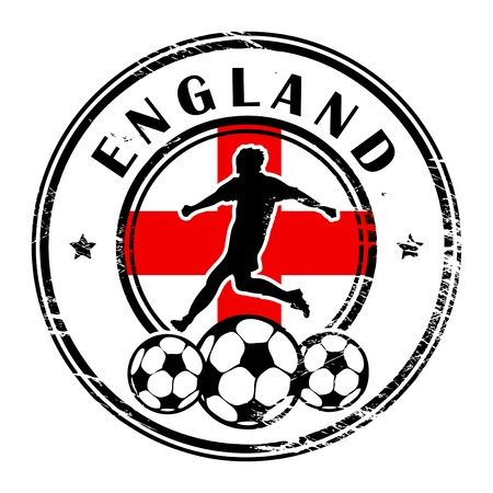 grunge football: Grunge stamp with football and name England Illustration