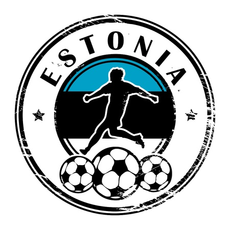 estonia: Grunge stamp with football and name Estonia