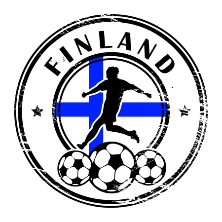 finland: Grunge stamp with football and name Finland