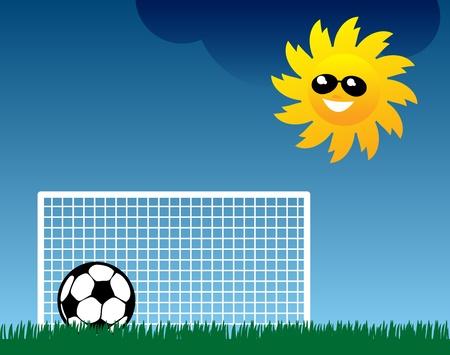 Football on grass field Stock Vector - 13821904