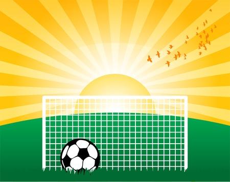 Football on grass field Vector