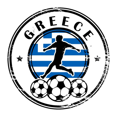 Grunge stamp with football and name Greece Stock Vector - 13821996