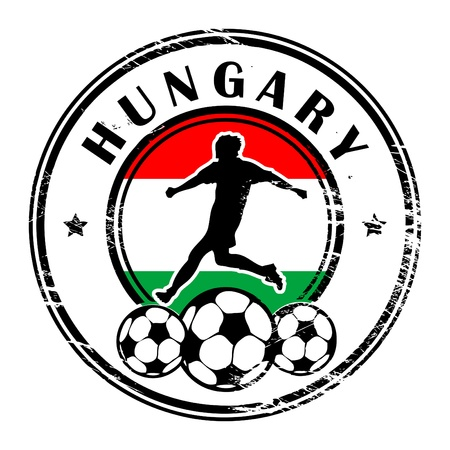 Grunge stamp with football and name Hungary Stock Vector - 13821952
