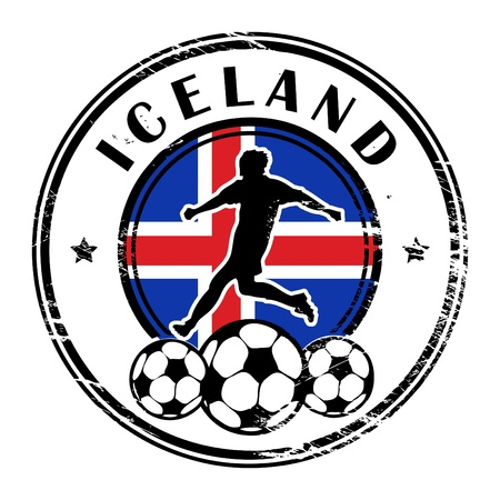iceland: Grunge stamp with football and name Iceland Illustration
