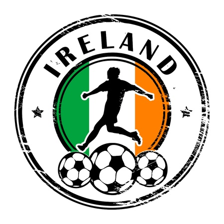 Grunge stamp with football and name Ireland Stock Vector - 13821946
