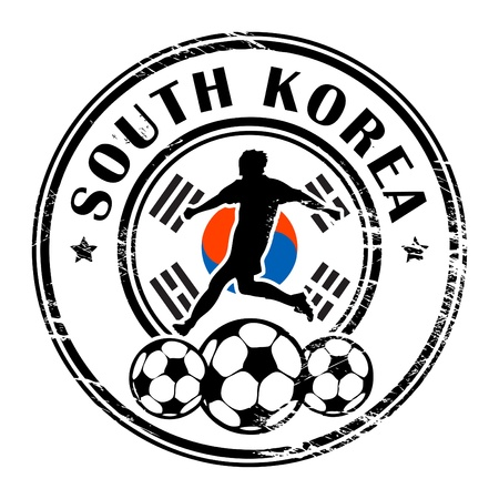 Grunge stamp with football and name South Korea Vector