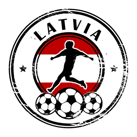 Grunge stamp with football and name Latvia Stock Vector - 13821936