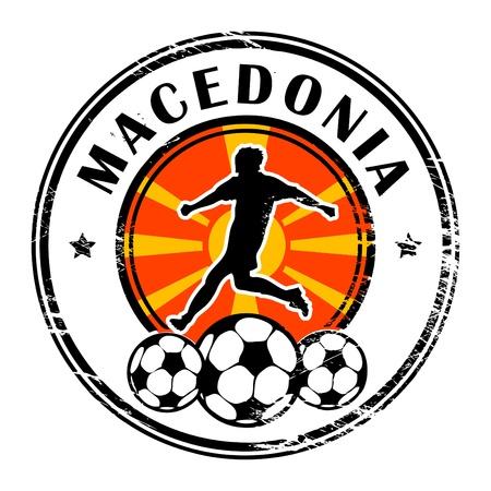 macedonia: Grunge stamp with football and name Macedonia Illustration