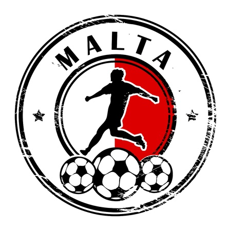 Grunge stamp with football and name Malta Stock Vector - 13821943