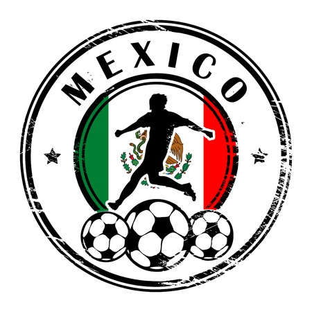 champions league: Grunge stamp with football and name Mexico