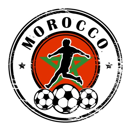 Grunge stamp with football and name Morocco Vector