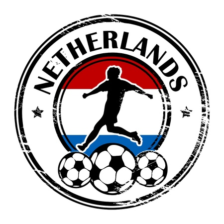 Grunge stamp with football and name Netherlands Vector