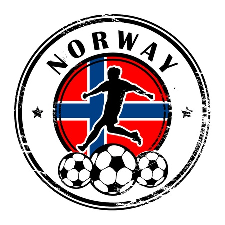 Grunge stamp with football and name Norway Vector