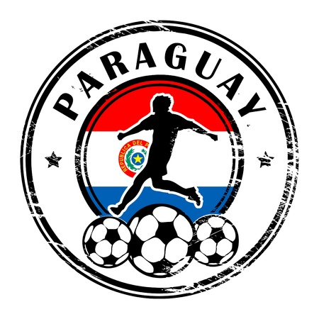 Grunge stamp with football and name Paraguay Vector