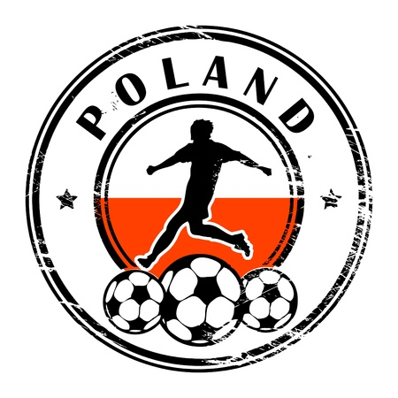 Grunge stamp with football and name Poland Vector