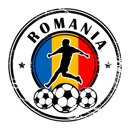 romania flag: Grunge stamp with football and name Romania