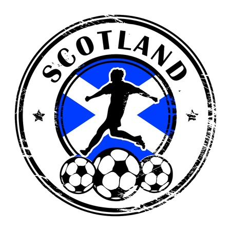qualified: Grunge stamp with football and name Scotland