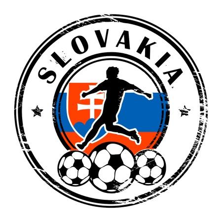 slovakia flag: Grunge stamp with football and name Slovakia Illustration