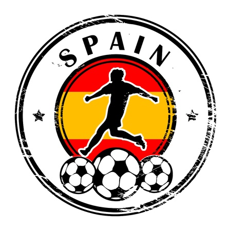 qualified: Grunge stamp with football and name Spain