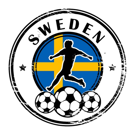 Grunge stamp with football and name Sweden Stock Vector - 13822019