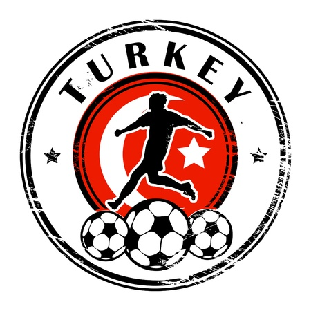 Grunge stamp with football and name Turkey Vector