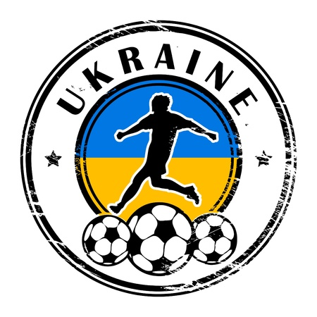 Grunge stamp with football and name Ukraine Vector
