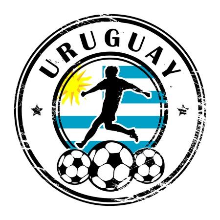 bandera de uruguay: Grunge sello con el Uruguay de fútbol y el nombre Vectores