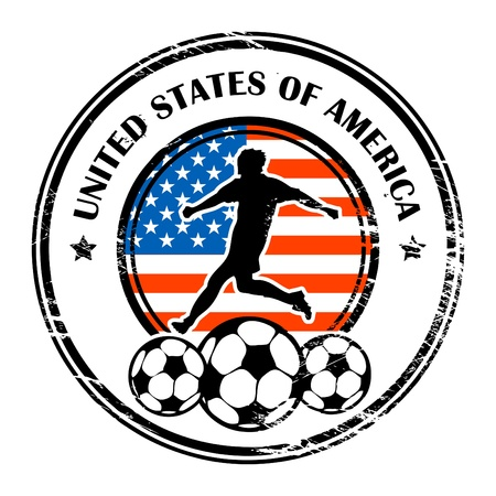 usa stamp: Grunge stamp with football and name United States of America Illustration