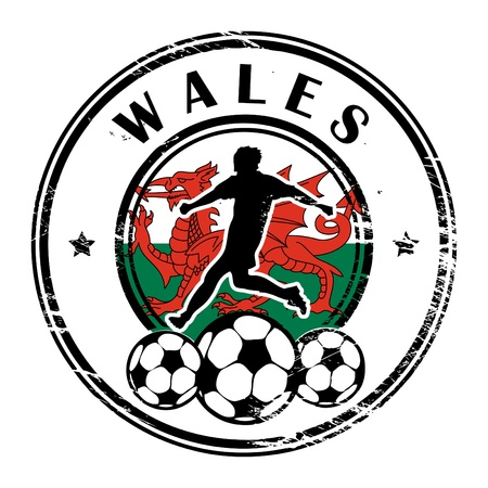 Grunge stamp with football and name Wales Stock Vector - 13822186