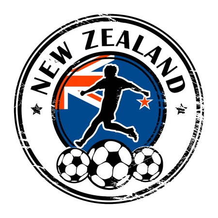 australia stamp: Grunge stamp with football and name New Zealand Illustration