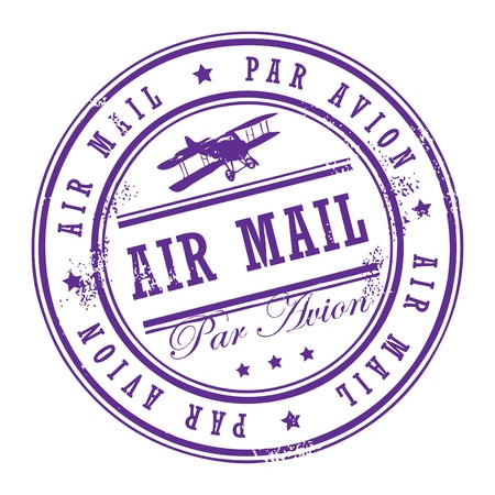 Grunge rubber stamp with small stars and the word Air Mail inside