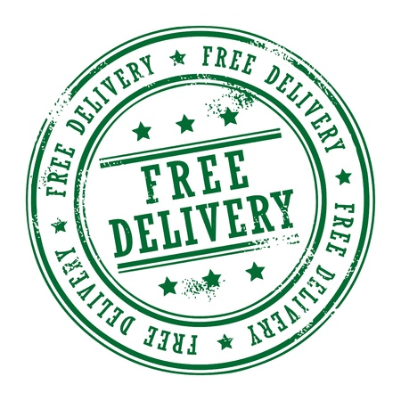 free shipping: Grunge rubber stamp with small stars and the word Free Delivery inside