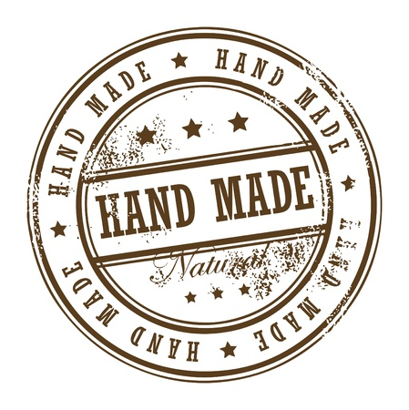 old hand: Grunge rubber stamp with small stars and the word Hand Made inside