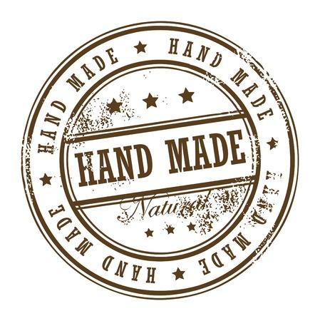 hand made: Grunge sello de caucho con peque�as estrellas y la palabra hecha a mano en el interior Vectores