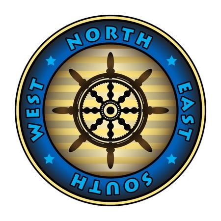 navy ship: Sello con la rueda del barco de direcci�n