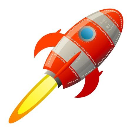 nave espacial: Foguete retro Ilustra��o