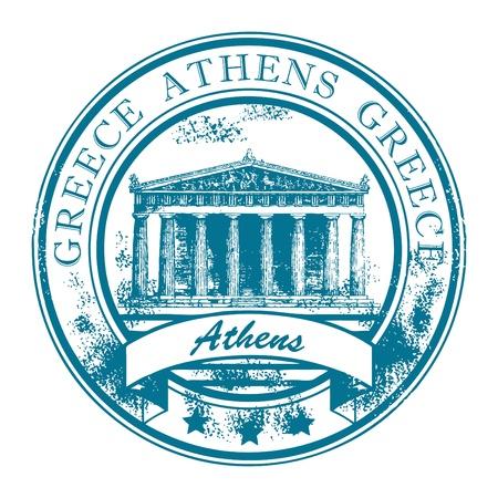 timbre voyage: Grunge rubber stamp avec Parthénon et le mot d'Athènes, en Grèce à l'intérieur