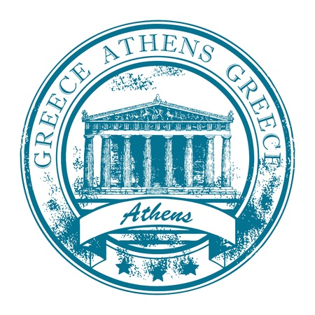 hellenic: Grunge rubber stamp with Parthenon and the word Athens, Greece inside