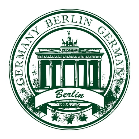 Grunge rubber stamp with Brandenburg gate and the word Berlin, Germany inside Vector