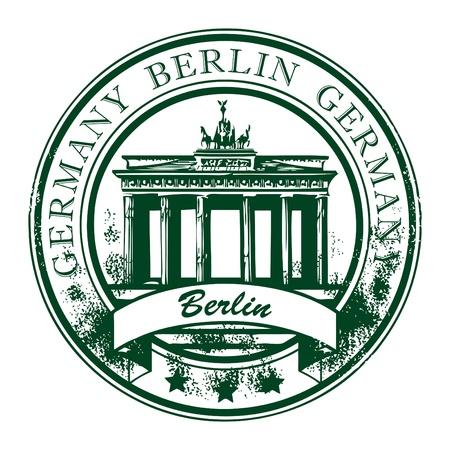 Grunge rubber stempel met de Brandenburger Tor en het woord Berlijn, Duitsland binnen