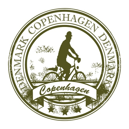 Grunge rubber stamp with cyclist and the word Copenhagen, Denmark inside Vector