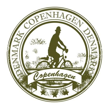 timbre voyage: Tampon en caoutchouc grunge avec le cycliste et le mot, Copenhague, Danemark intérieur