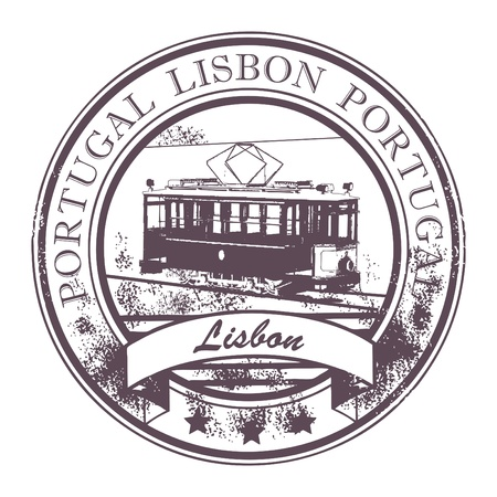 Grunge rubber stamp with Tram and the word Lisbon, Portugal inside Vector