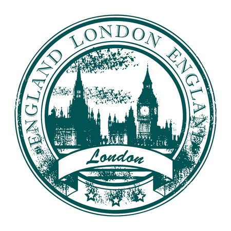 large office: Grunge rubber stamp with London parliament and the word London, England inside